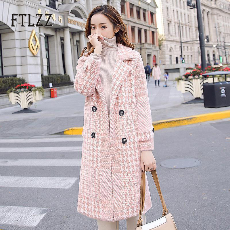 Fashion Plaid Wool Coat Women Autumn Winter Korean Style Medium Long Coats 2019  Ladies Turndown Collar Warm Pink Outerwear