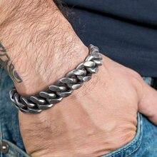 Мужской браслет 14 мм в стиле хип хоп серый черный из нержавеющей