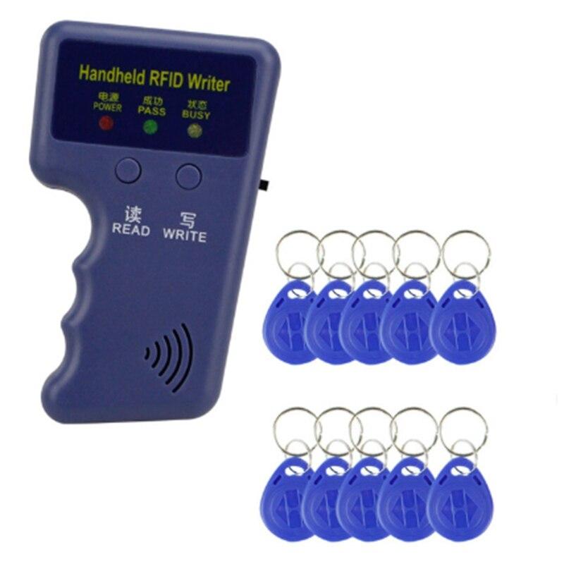 ABKT-Handheld 125Khz RFID Duplicator Key Copier Reader Writer ID Card Cloner Programmer Reader Match With 10 Keys Access Card Re
