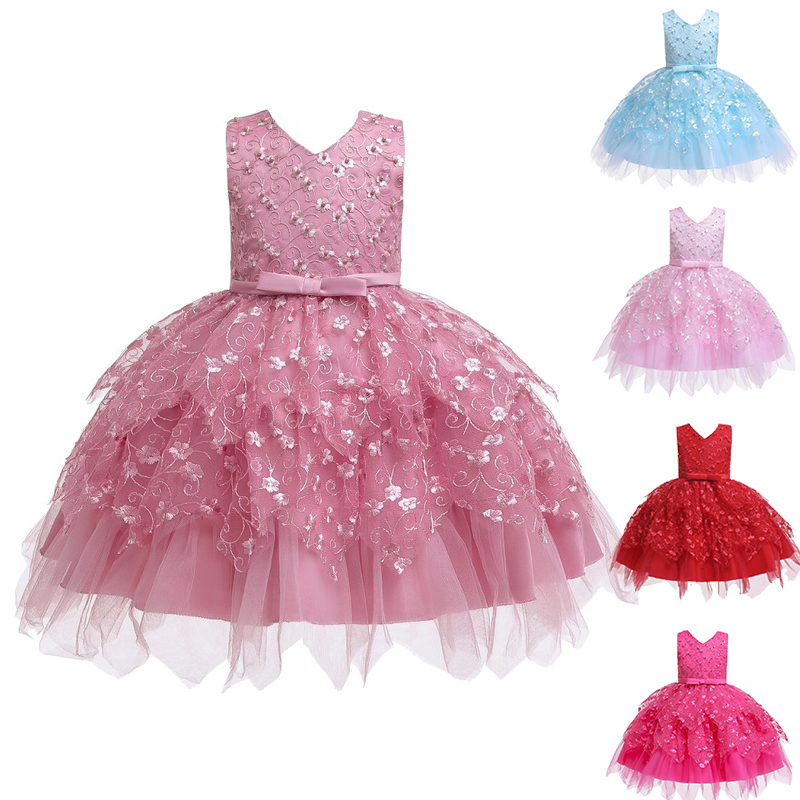 Baby Kids Pearl Princess Baptism Party Tutu Dress For Girls Infant Girl's Christening Birthday Dress Toddler Carnival Vestidos