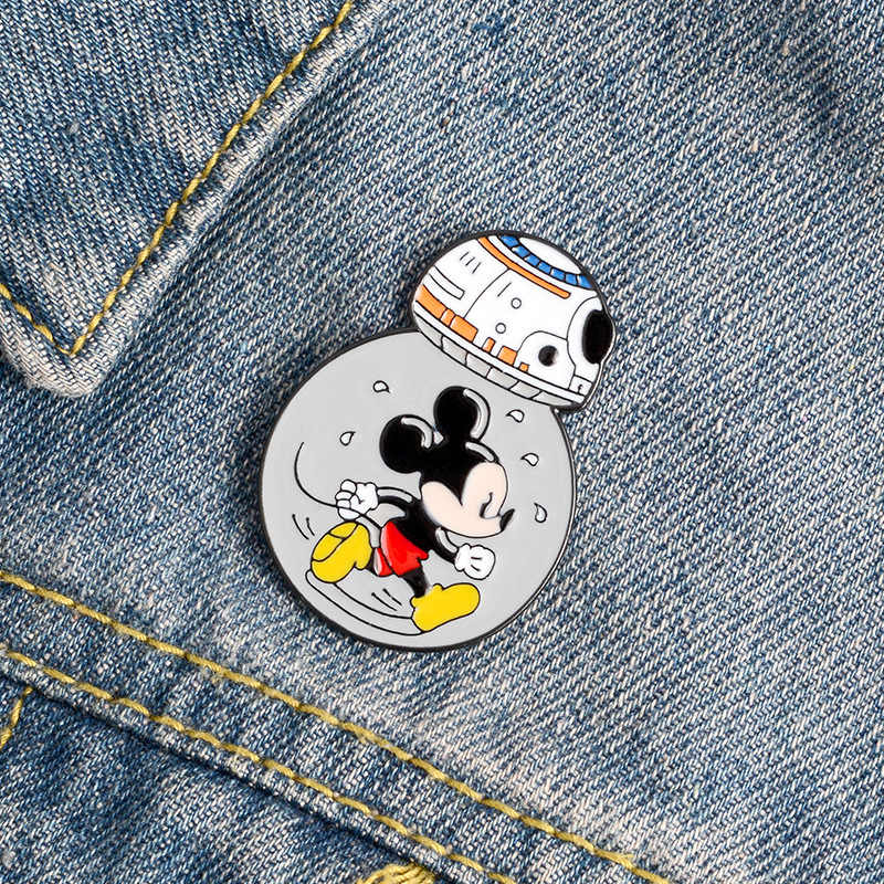 Film Star robot wars Mickei mouse spilla smaltata per donna Badge camicia smalto spille per uomo spilla in metallo accessori gioielli