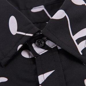 Image 3 - Рубашка мужская с длинным рукавом, блузка свободного покроя в горошек, с принтом музыкальных нот