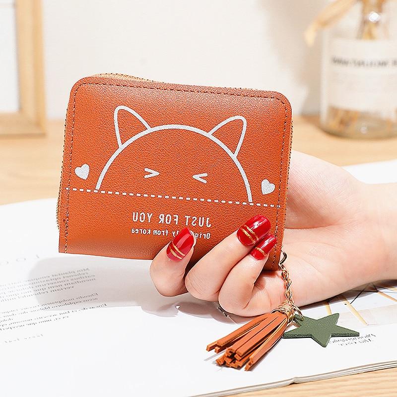 Cartoon cute Cat womens purses coins and cards fresh style small cute wallet short zipper mini purse new square coin holder