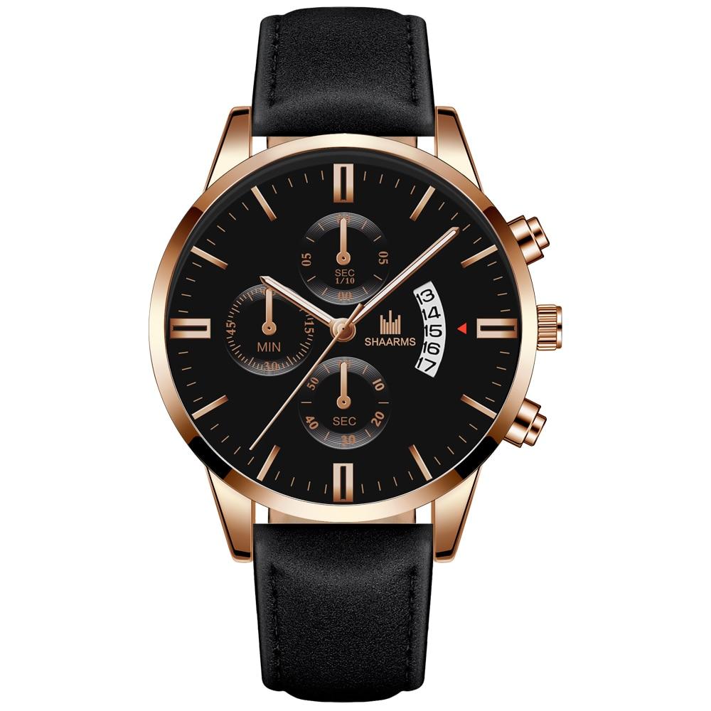 Men Fashion Sport Stainless Steel Case Leather Strap Watch Quartz Business Wristwatch CLOVER JEWELLERY