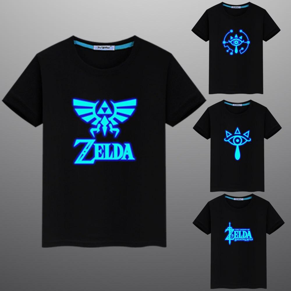 New Summer Zelda Printed Luminous Fluorescent Casual Children Kids Cotton T Shirt Tops Tees Men Women T-shirt