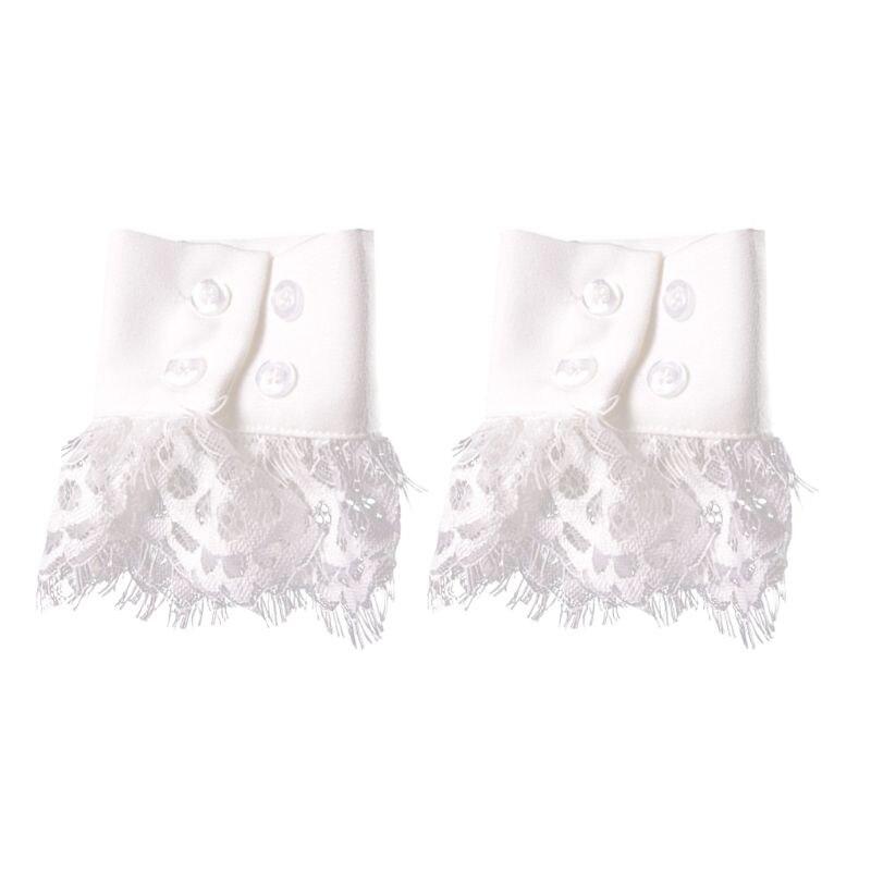 Women Handmade Fake Sleeves Crochet Eyelash Lace Panel Horn Cuffs Wrist Warmers
