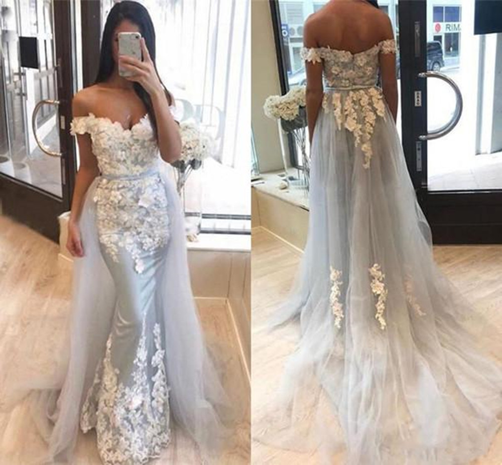 Prom Dresses 2020 With Sleeves Off The Shoulder Elegant Party Mermaid Appliqued Tulle Formal Evening Gowns For Women Plus Size