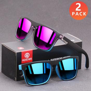 2 PACK KDEAM spolaryzowane okulary mężczyźni moda styl sportowy kwadratowe okulary soczewka fotochromowa gogle okulary słoneczne noktowizyjne tanie i dobre opinie CN (pochodzenie) SQUARE Dla osób dorosłych Z tworzywa sztucznego polaryzacyjne MIRROR UV400 44mm 55mm