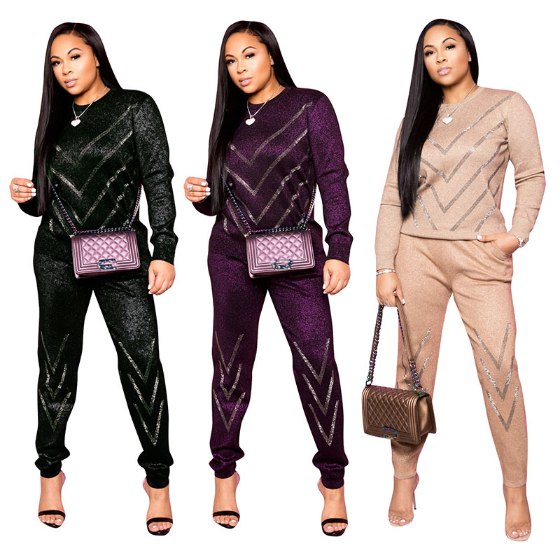 Fashion Women Two Pieces Set Hot Drilling Sweatshirt Top And Pants With Posket Tracksuit Sportwear Jogging Femme Autumn  Winter