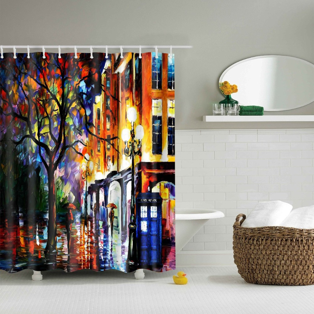 Oil Painting Geometric 180x180cm Shower Curtains Waterproof Polyester Bathroom Curtain With Hooks Shower Curtains  - AliExpress