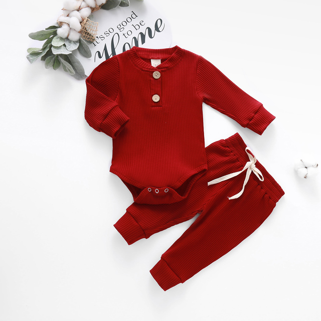 Baby Solid Clothes Long Sleeve Romper and Pants Set 2
