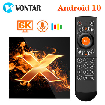 VONTAR X1 Smart TV qutusu Android 10 4g 64gb 4K 1080p 2.4G & 5G Wifi BT5.0 Google Voice Assistant Youtube TVBOX dəsti