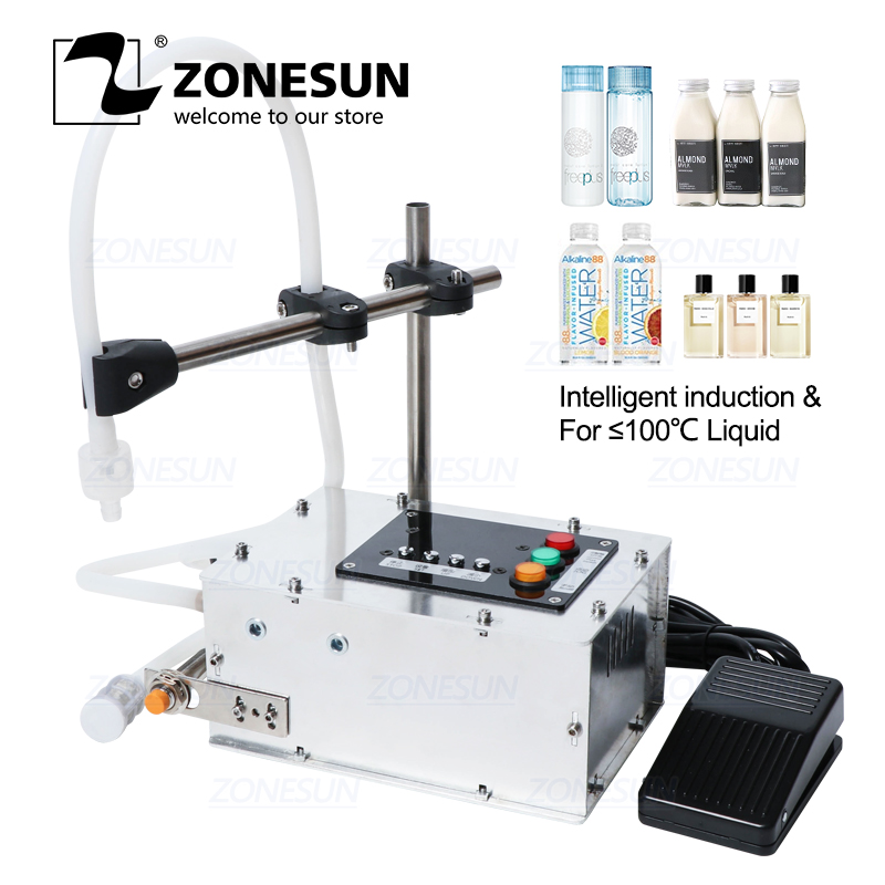 ZONESUN Intelligent Induction Liquid Filling Machine Small Liquid Alcohol High-precision Heat-resistant Filling Machine
