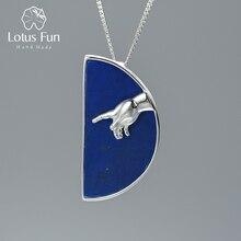 Lotus eğlenceli gerçek 925 ayar gümüş el yapımı güzel takı el tanrı en oluşturma Adam kolye kolye olmadan kadın