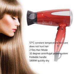 Profesjonalny składany do włosów suszarka nadmuchowa 1800W dmuchawa ciepła suszarka ciepłej chłodne pozbawiające tchu Salon ue wtyczka
