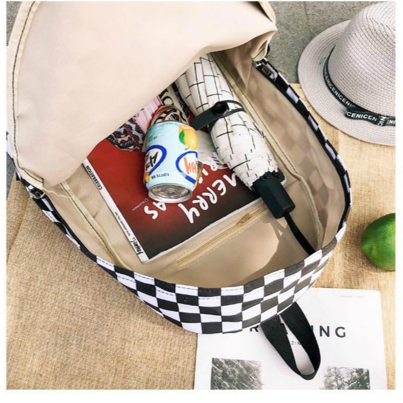 GOUSTER 2019 Hot Sale Women Men Unisex Lattice Backpack New Trend Checkerboard Teenager School Bag Couples Back Pack Travel Bag