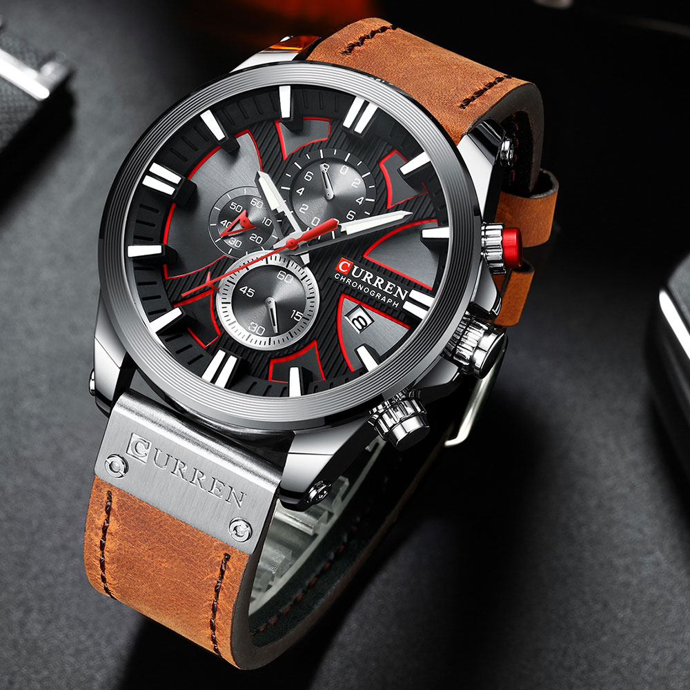 H0ce3f24c82da475a97aef622ba14d26bm CURREN  Brand Luxury Men Watch Leather Quartz Clock Fashion Chronograph Wristwatch Male Sport Military 8346 Relogio Masculino
