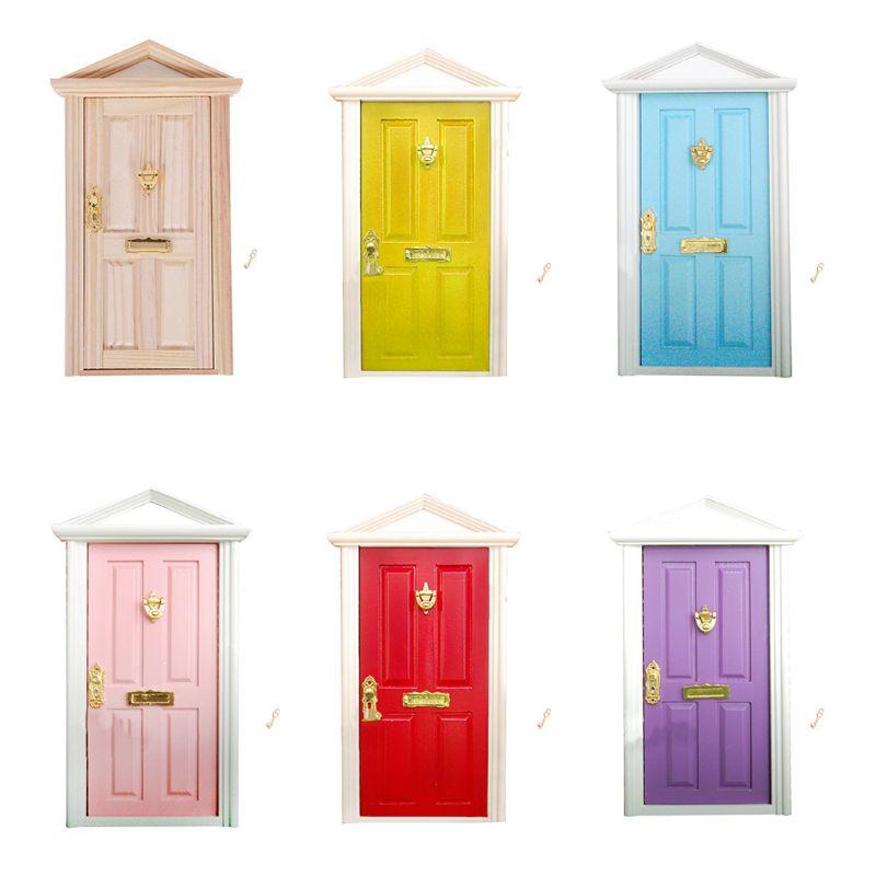 1:12 Scale Dollhouse Miniature Wood Fairy Door Knocker Doorplate Lock Key Decor