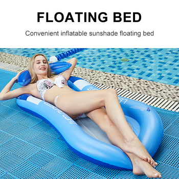 Inflatable Hammock Floatings Row Swimming Bed Foldable Portable Inflatable Back Sunshade Swimming Pool Middle Mesh Water Chair 4