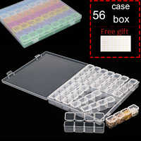 New 56 Grids 5D DIY Diamond Painting Drill Box Jewelry Box Rhinestone Embroidery Crystal Bead Organizer Storage Case Container