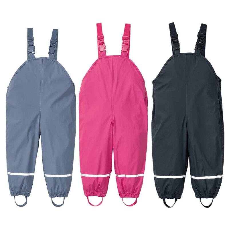 Детский непромокаемый комбинезон для мальчиков и девочек, водонепроницаемый Осенний комбинезон из искусственной кожи, ветронепроницаемые штаны для малышей, 2020|Брюки|   | АлиЭкспресс