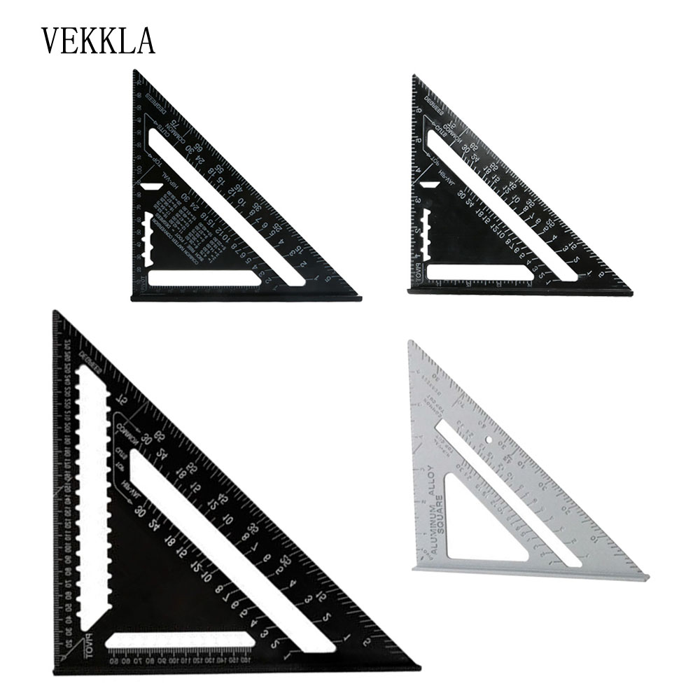 Angle Protractor,7 Inch Metric Aluminum Alloy Black Oxidation Roofing Triangle Angle Protractor Layout Guide Imperial