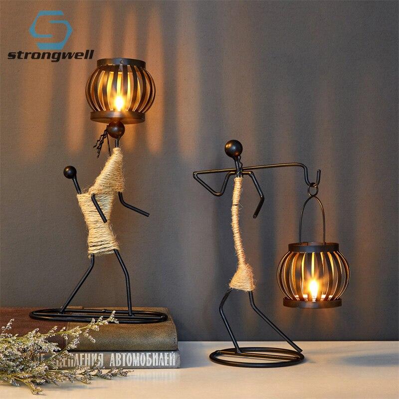 Strongwell Nordic Metalen Kandelaar Abstract Karakter Sculptuur Kaarshouder Decor Handgemaakte Beeldjes Home Decoratie Art Gift