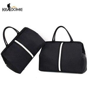 Image 1 - Sports Gym Bag Travel Handbag Women Traveling Bags Lady Luggage Tas Sac De Sport Duffle Gymtas 2020 Striped OutdoorB ag XA286D