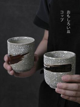 Japoński kubek ceramiczny filiżanka wody retro kamionka filiżanka kawy filiżanka do domu komercyjne przyrządy do gotowania tanie i dobre opinie Kubki do kawy Pod ramą Ce ue Ekologiczne Zaopatrzony Ware of the Late-Ming and Early-Qing Dynasties 200mL following Coloured Glaze