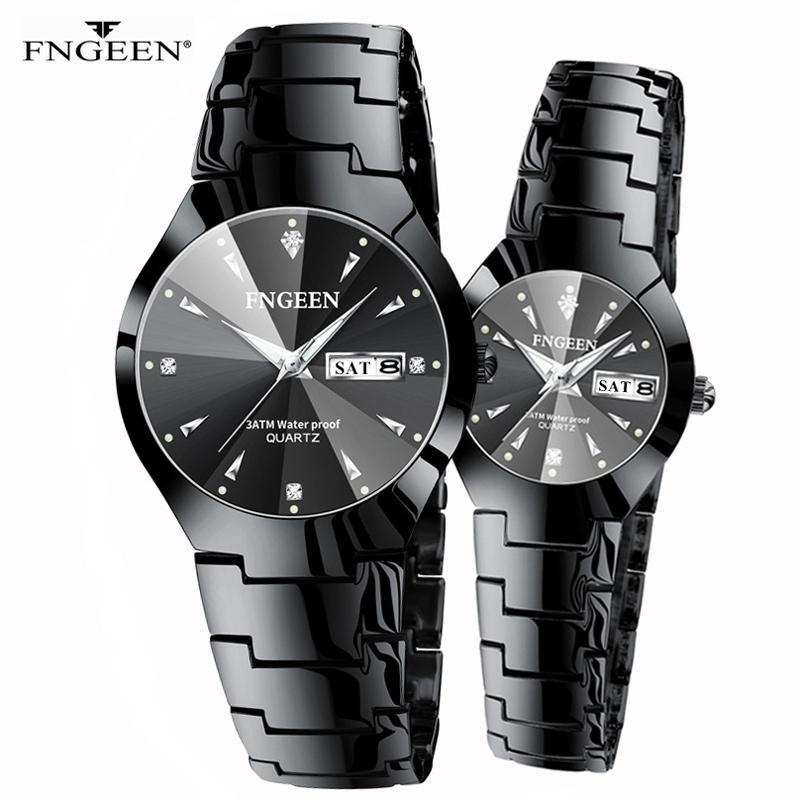 Couple Watch Men And Women Quartz Watches Pair Hour Day Date Luminous Pointer 2020 Luxury Diamond Dial Wristwatch Lovers Watches