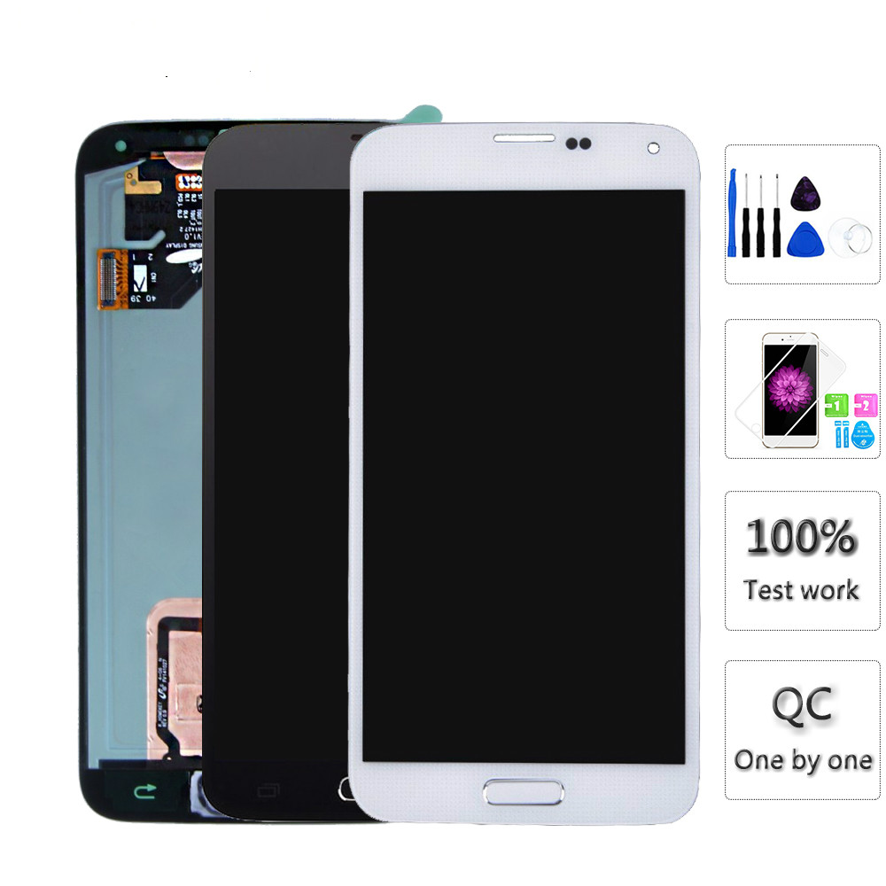 LCDs For Samsung S5 i9600 <font><b>G900</b></font> G900A G900F LCD <font><b>Display</b></font> Touch Screen Assembly Home Button Replacement for Galaxy S5 image