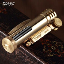 New Zorro Transparent Fuel Tank Retro Lighter Motor Oil Metal Brass Grooved Kerosene Lighter Gasoline 73*23mm 46.5g Smoking