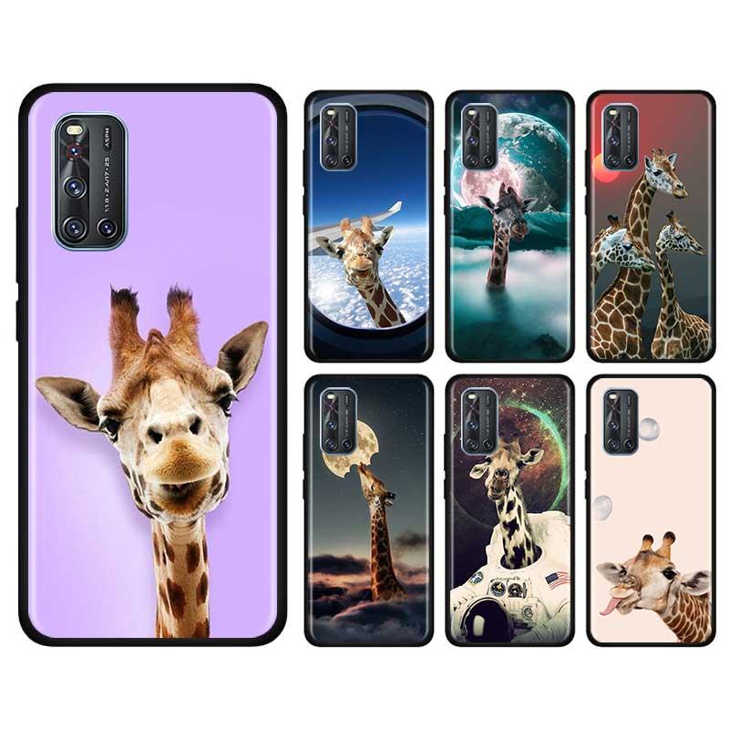 Thin Case For Vivo S1 Pro Y12 Y15 Pro Y17 Y19 Z6 5G Y30 Y50 V19 Iqoo 3 5G Z1 Phone Fall Cover Shell Giraffes