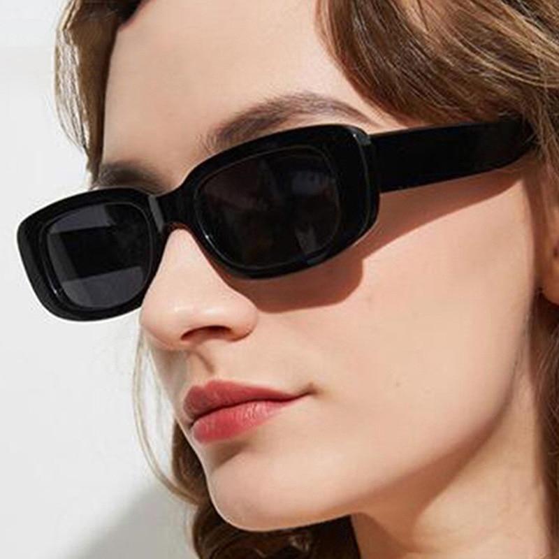 Occhiali da sole rettangolari piccoli donna Vintage Brand Designer Square occhiali da sole tonalità donna 1