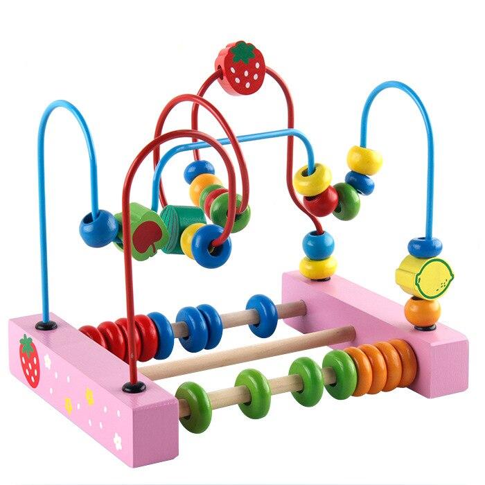 Blocs de construction grande taille fruits animaux en bois perle-cordage jouet perlé Bracelet couleur bûches cadre de Base à deux choix