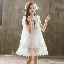 Little Girls Elegant Princess Dresses Summer Costume Kids White Tulle Mesh Fluffy Sleeveless Tutu Dress Girl Clothing Casual New