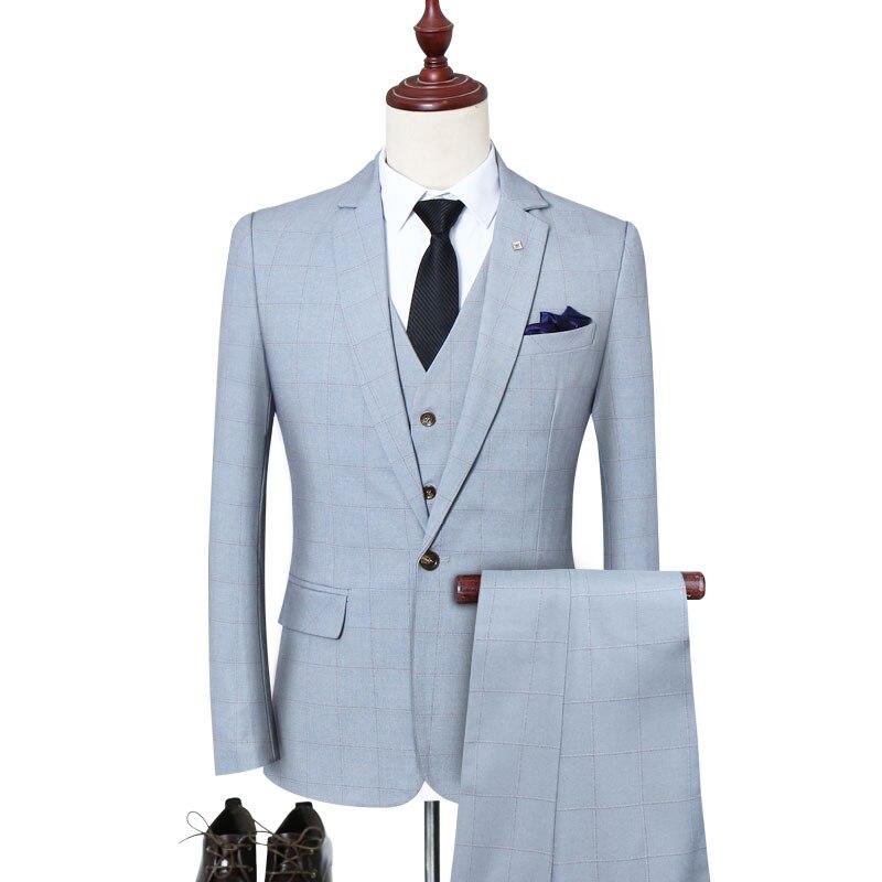 2019 new arrival 3 pieces plaid  tuxedo wedding suit plus size s-5xl single button suits for men