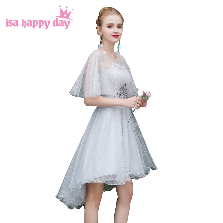 Light Gray Capped Sleeved Bridesmaid Tulle Dresses Sweet Heart Asymmetric High Low Fashion Girls Party Ball Dress 2020 H4329