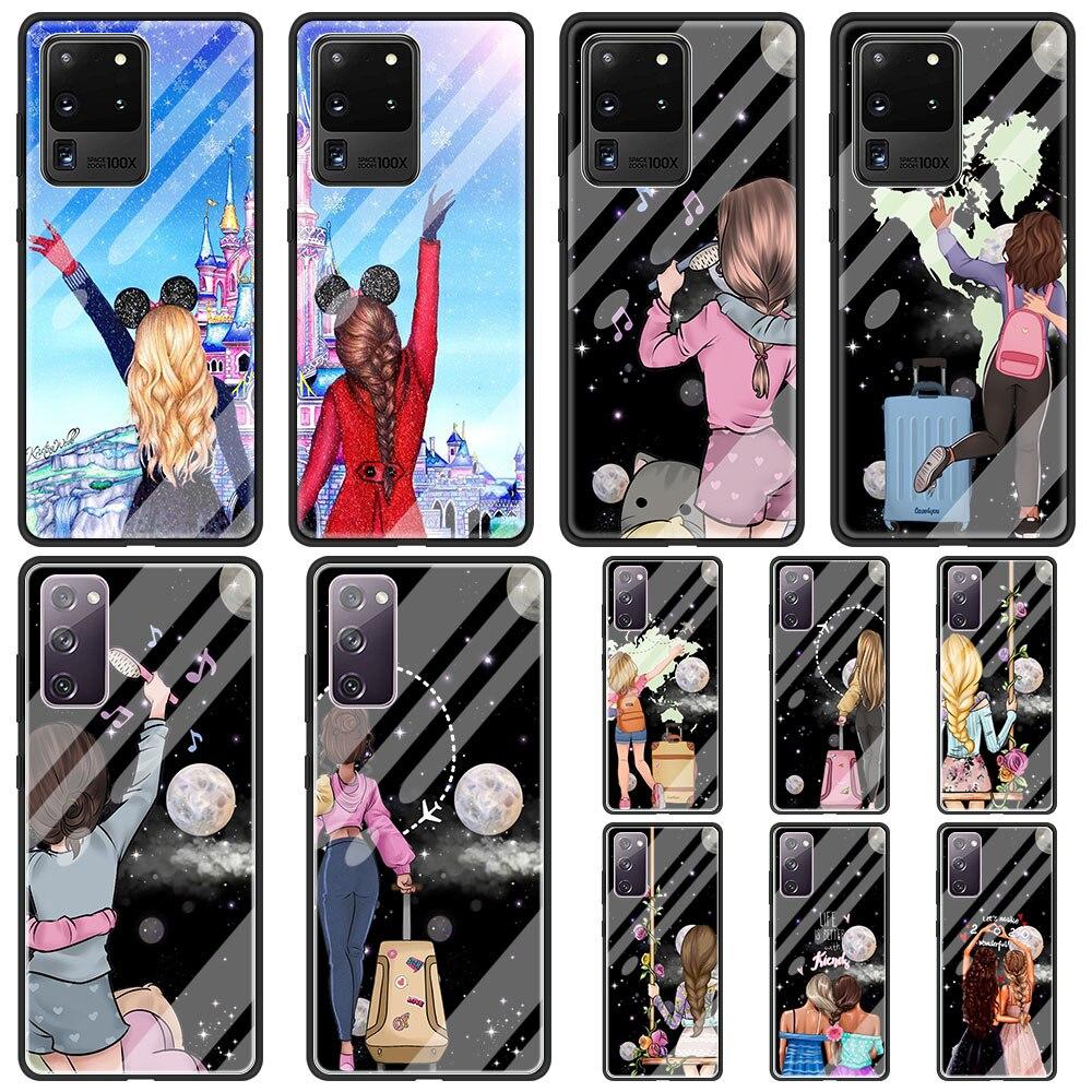 Чехол для телефона из закаленного стекла для Samsung Galaxy S20 FE S21 ультра 5G S10 S10e S8 S9 S21 плюс Best Friend» для девочек накладка с надписью Bff Coque Funda