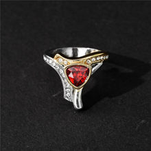 Golden Silvery Crystal Rings for Women Wedding Promise Rings Ladies Vintage Fashion Couple Engagement Ring Men Female Jewelry(China)