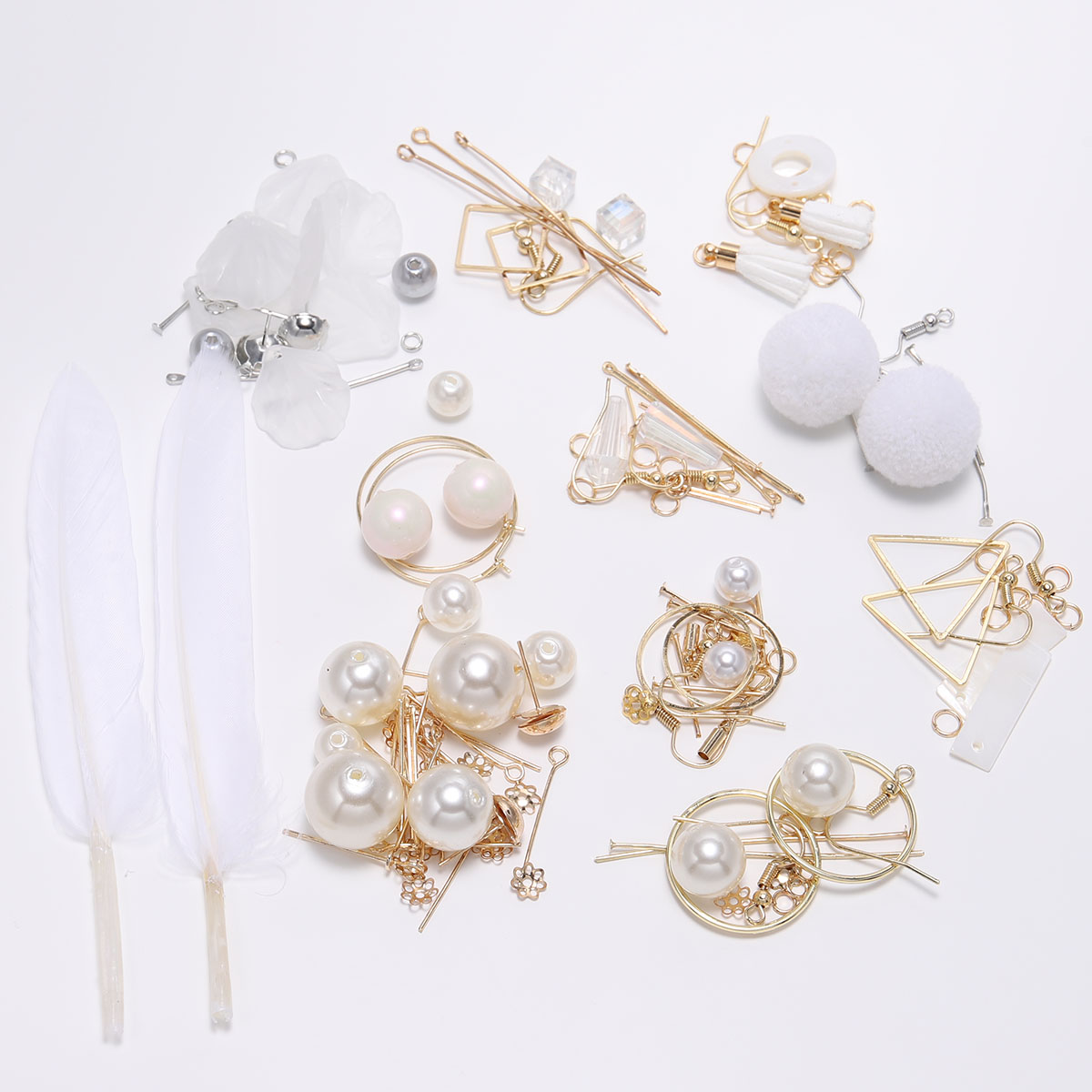 US $6.47 30% OFF|Bohemian Sea Ocaen White Feather pearl Earring Accessory DIY Jewelry Package Hooks For Earrings Women Gift Handmade Supplies on AliExpress