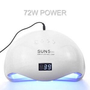 Image 5 - 72ワットSUN5プロuvランプledネイルランプネイルドライヤーすべてのジェルポリッシュ太陽の光赤外線検出10/30/60秒タイマースマートのためのマニキュア