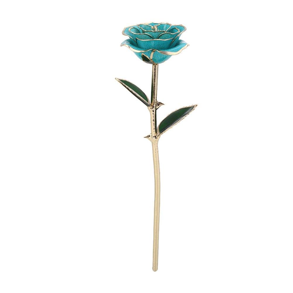 Искусственное растение розы подарок Цветочный декор эмуляционный цветок 10 цветов Золотая фольга реквизит фестиваль ресторан отель орнамент - Цвет: Light Blue