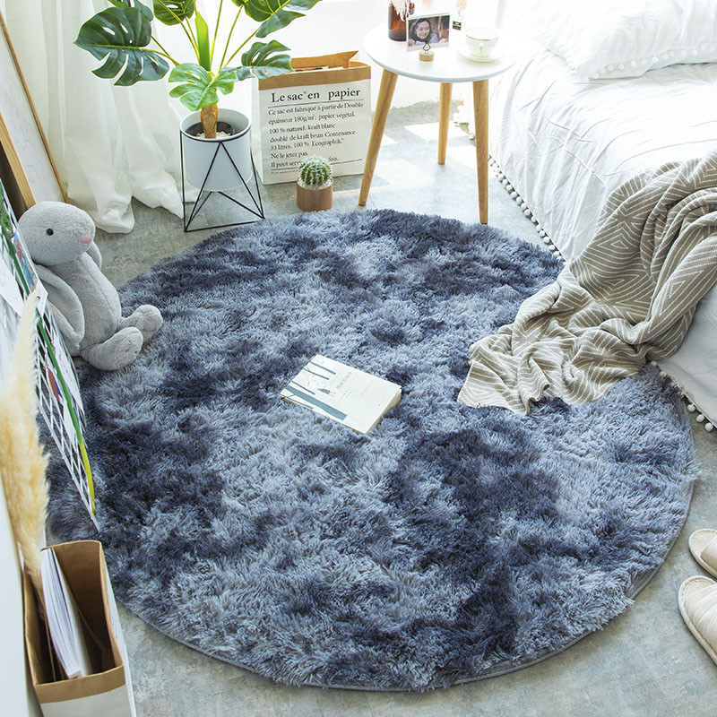 Nordic Round Carpet Silk Hair Living Room Mat Bedroom Bedside Yoga Rug Home New Tie Dyed Variegated Carpet Thickening Encryption