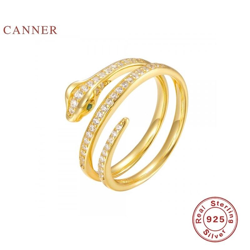 خواتم من CANNER فاخرة مرصعة بالماس على شكل ثعبان من الفضة الإسترليني عيار 925 خواتم من الفضة الإسترليني للنساء مجوهرات فاخرة فاخرة من Bijoux