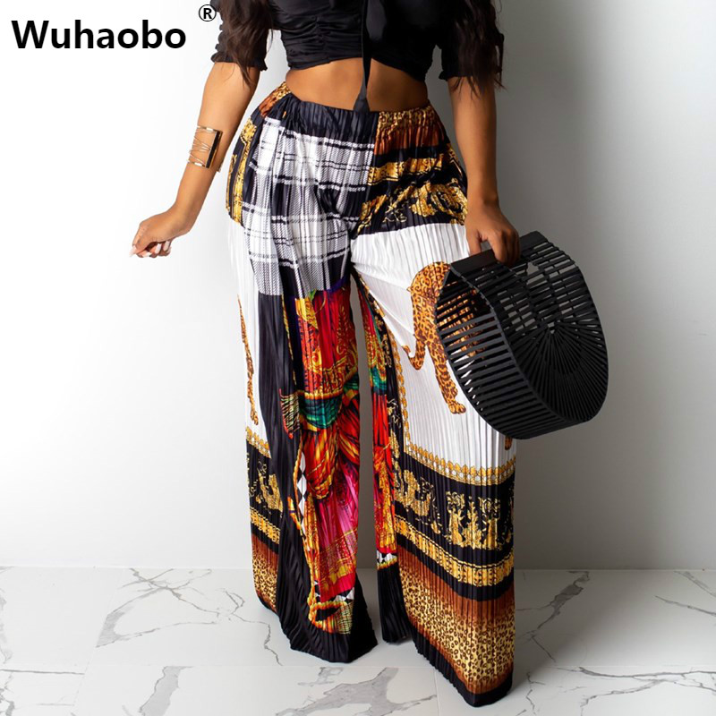 Wuhaobo Indie Folk Sexy Pleated Leopard   Wide     Leg     Pants   Women Print Casual Full Length   Pants   Vintage Elastic Waist Loose   Pant