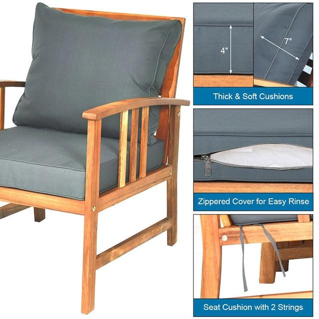 4 Pcs Wooden Patio Furniture Set  5