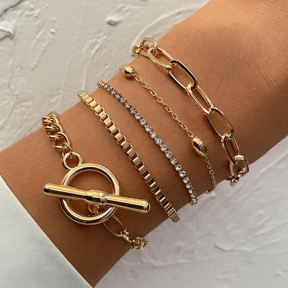 5 pz/set Punk oro cristallo catena spessa braccialetto femminile bohemien geometrica catena OT fibbia braccialetto Set gioielli ragazza regalo del partito 1