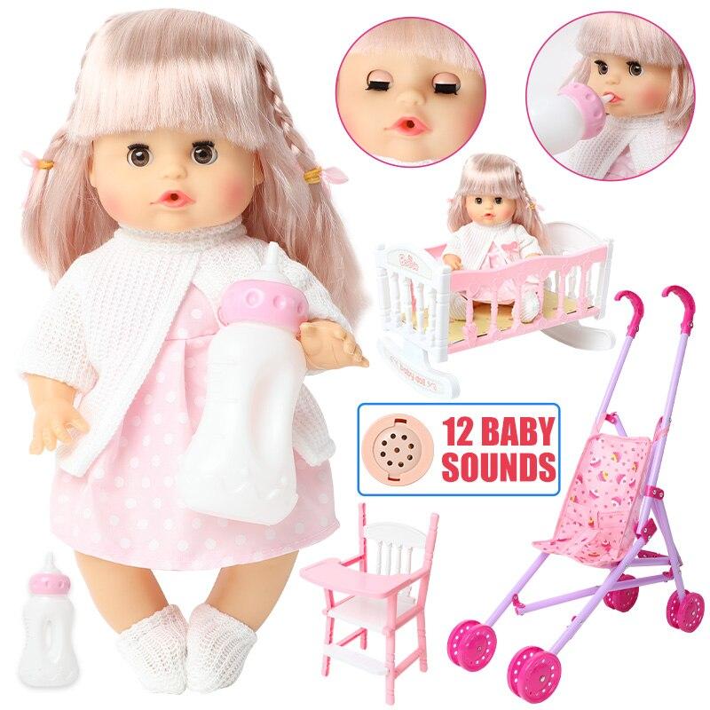 30cm lifelike long hair reborn Doll Silicone Trolley 12 inch Realistic bebe Baby doll newborn sound dining car bed set for toys