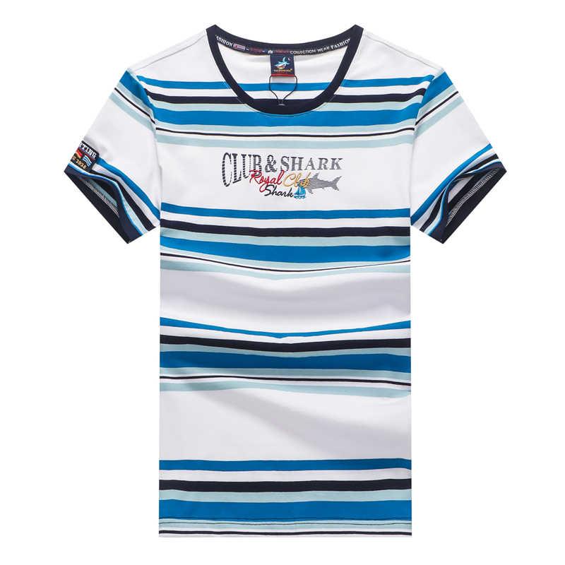 TACE & SHARK 여름 상어 티셔츠 의류 패션 레드 스트라이프 티셔츠 망 Tace & Shark 티셔츠 캐주얼 편안한 티셔츠
